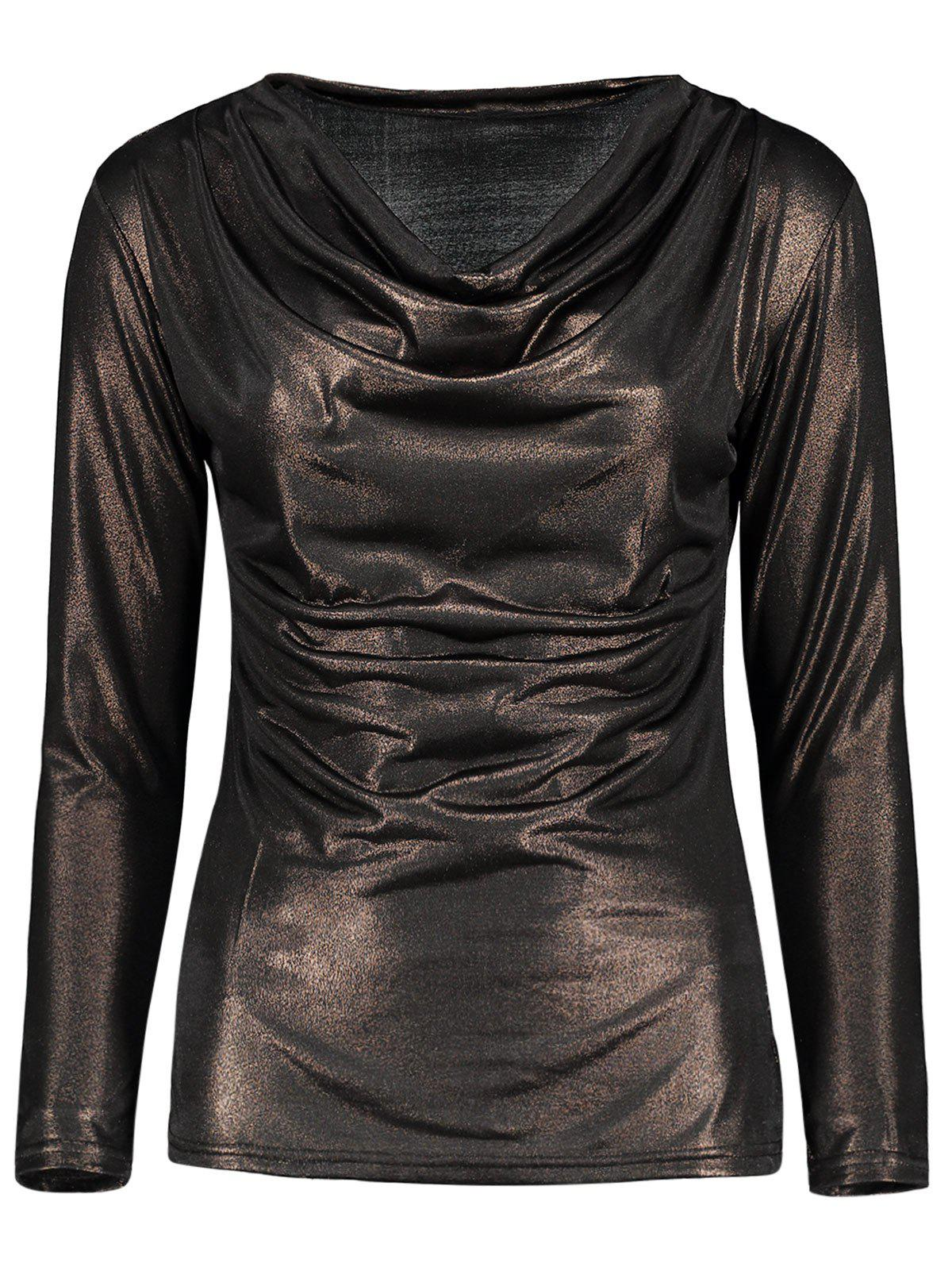 Cowl Neck Metallic Ruched Tee - GOLD BROWN M