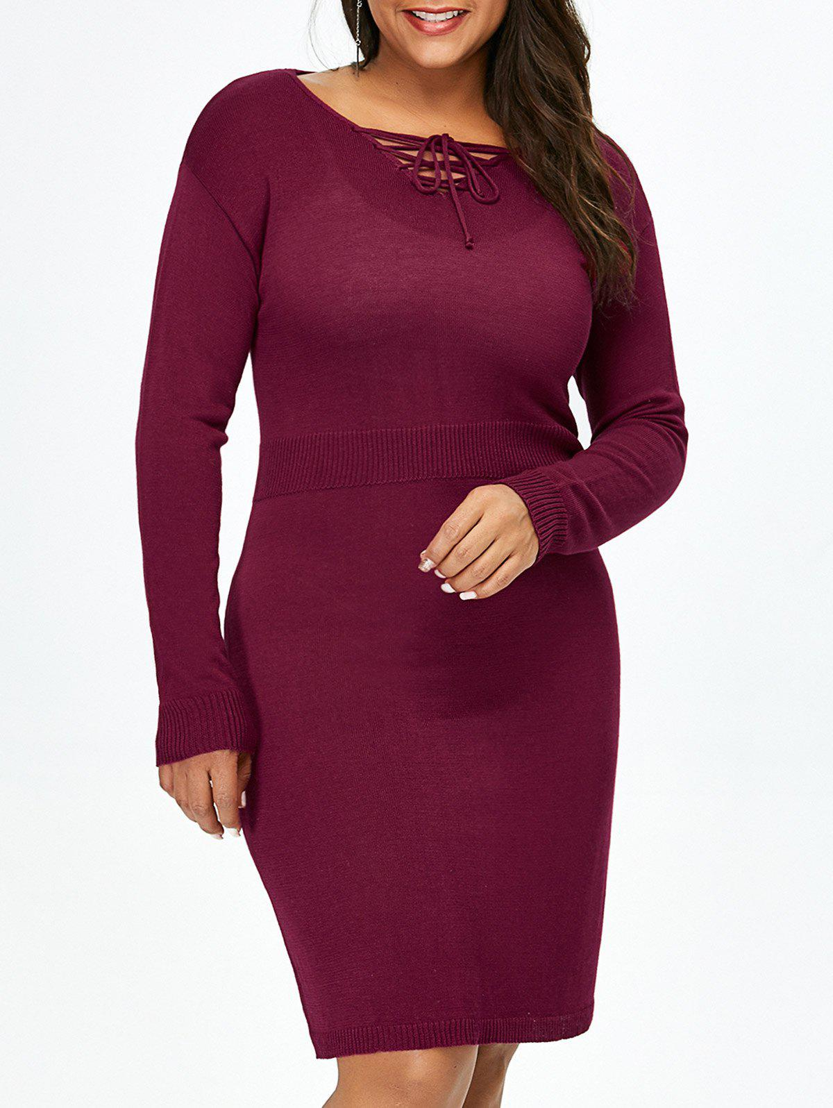 Plus Size Lace Up Fitted Jumper Dress lace up back drawstring jumper