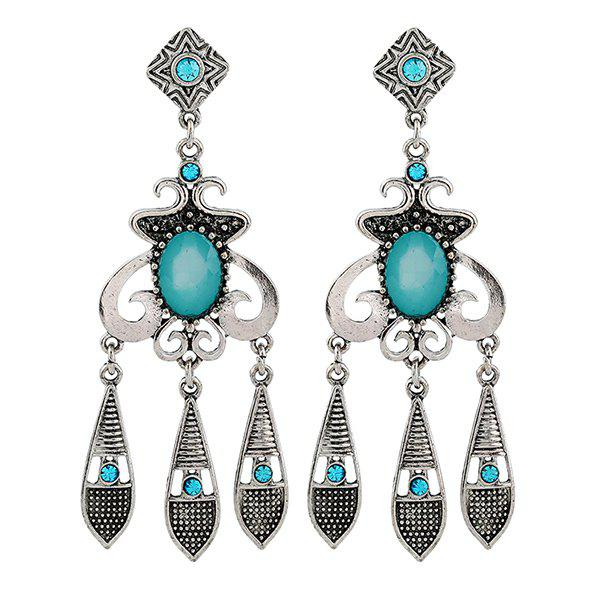Geometric Rhinestone Water Drop Earrings - SILVER