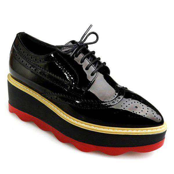 Wingtip Patent Leather Wedge Shoes - BLACK 39