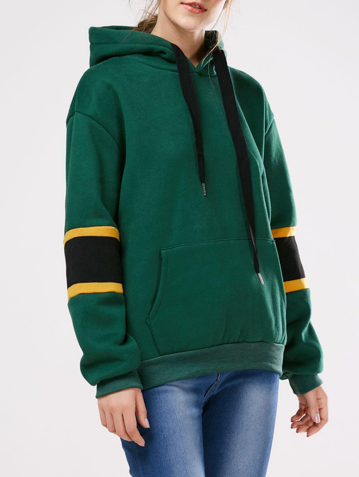 Color Block Wool Blend Oversized HoodieWomen<br><br><br>Size: ONE SIZE<br>Color: GREEN