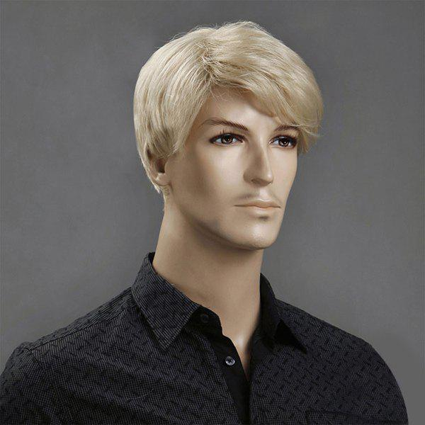 Side Bang Short Layered Shaggy Straight Synthetic Wig - DARK GOLD