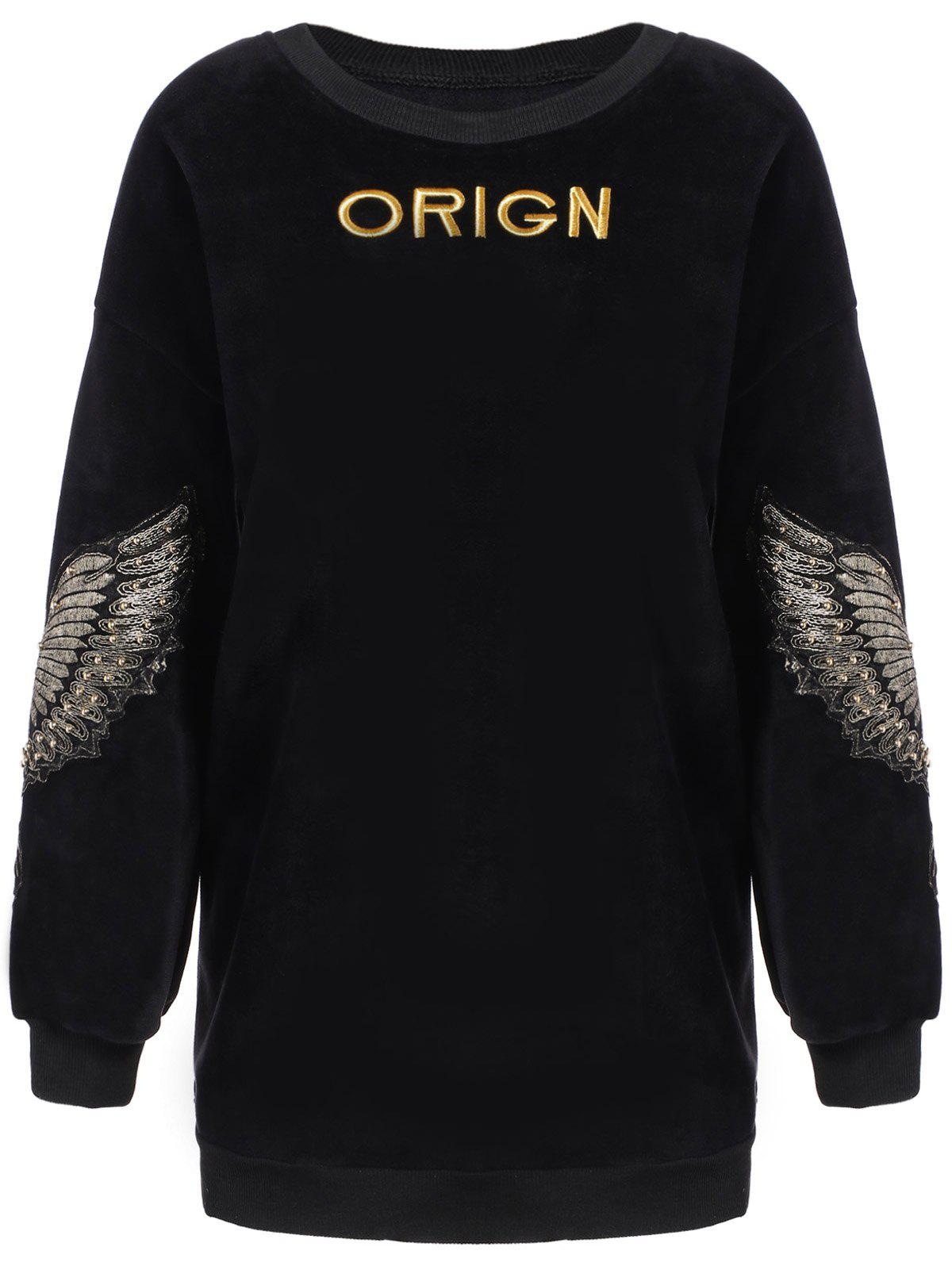 Wing Letter Embroidery Drop Shoulder Sweatshirt - BLACK ONE SIZE(FIT SIZE XS TO M)