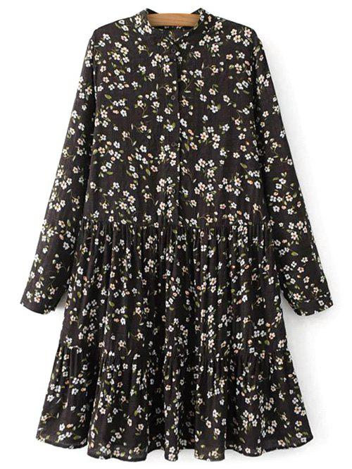 Long Sleeve Floral Mandarin Collar Dress - BLACK S