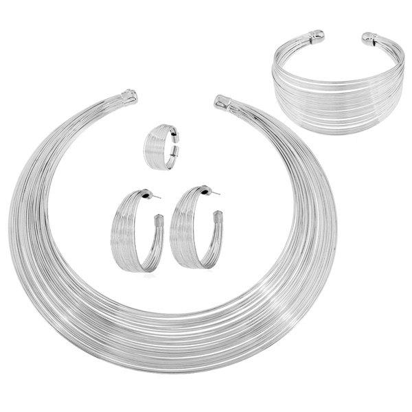 Metal Wire Layered Jewelry SetJewelry<br><br><br>Color: SILVER