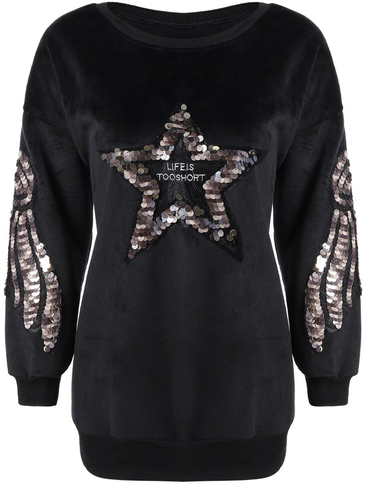 Star Sequin Drop Shoulder Sweatshirt - BLACK ONE SIZE(FIT SIZE XS TO M)