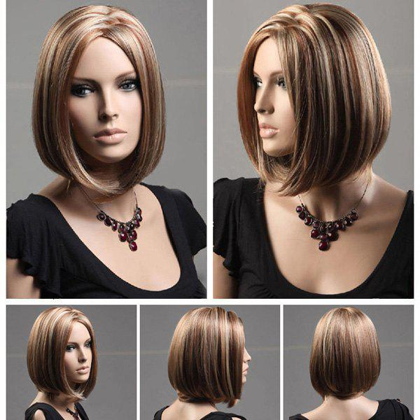 Zigzag Parting Short Colormix Silky Straight Bob Synthetic Wig - FLAX