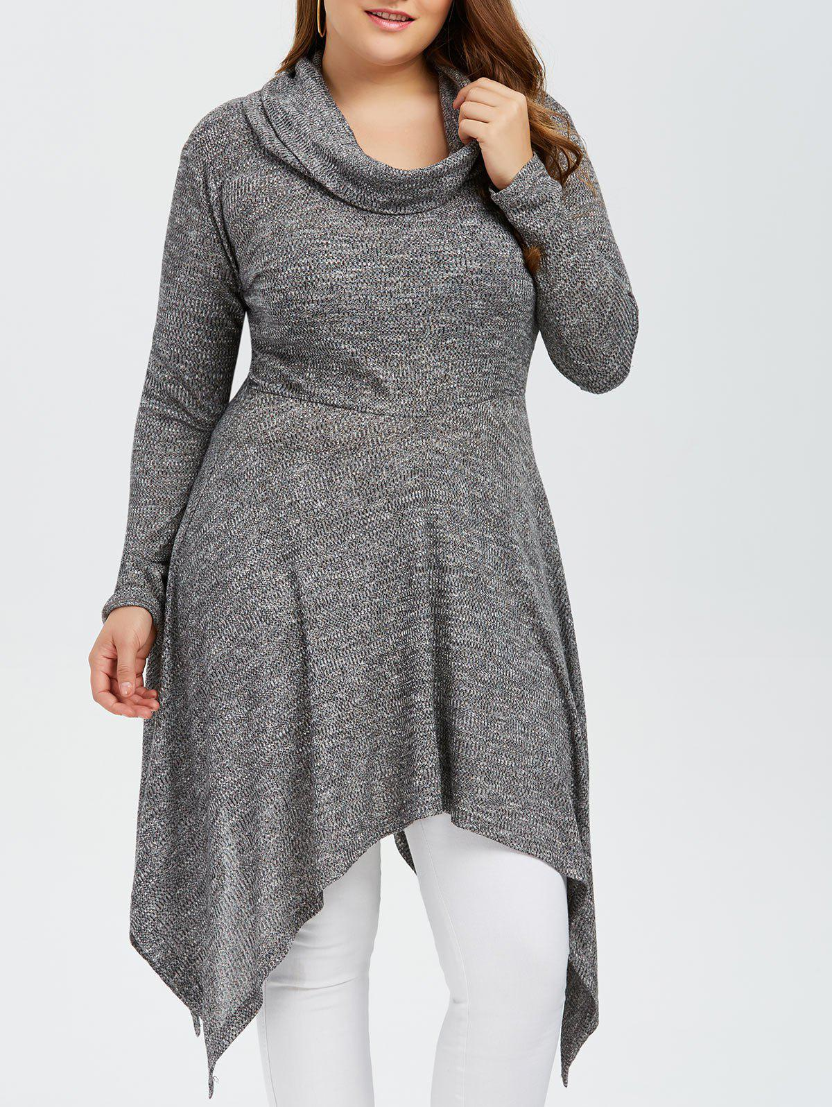 Plus Size Asymmetric Cowl Neck Knitwear - GRAY XL