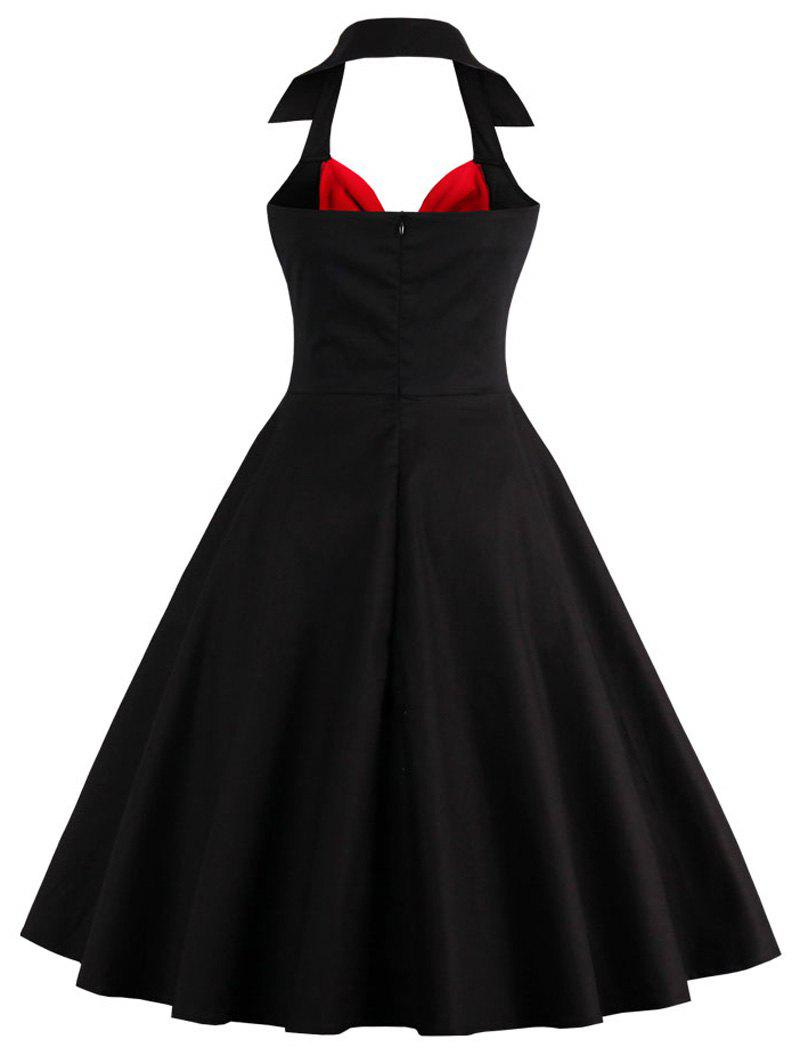 Halter Corset Vintage Rockabilly Swing Dress - RED/BLACK L
