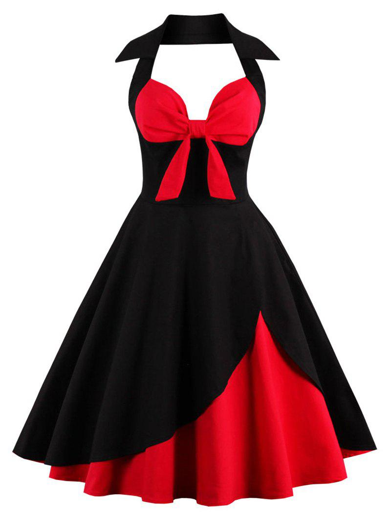 Halter Corset Vintage Rockabilly Swing Dress - RED/BLACK 3XL