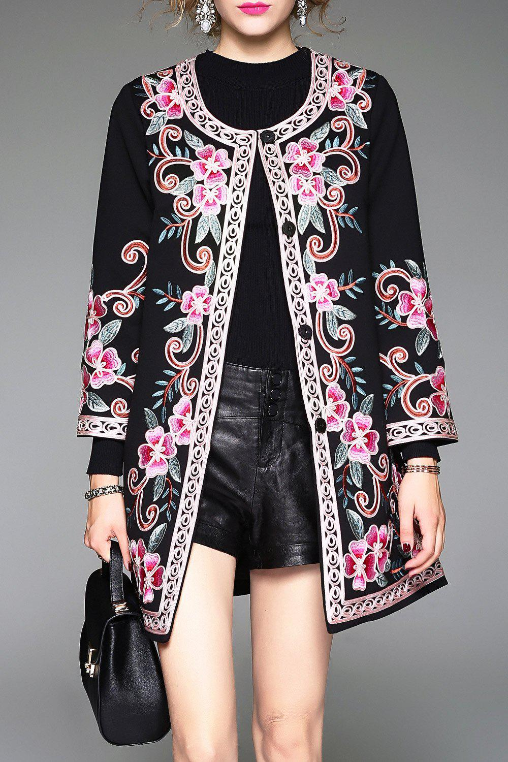 Jewel Collar Single Breasted Embroidered Coat