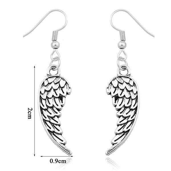 Embossed Wings Drop Earrings - SILVER