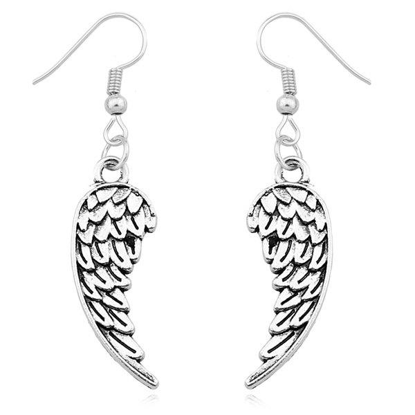 Embossed Wings Drop Earrings