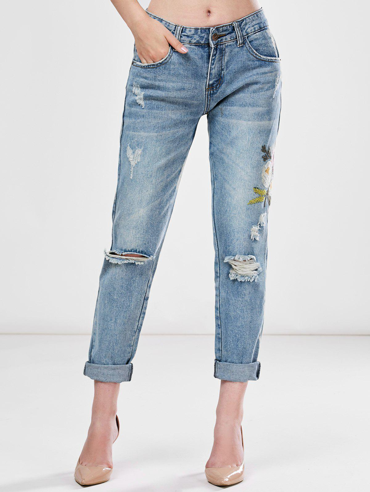 Light Wash Embroidered Ripped Jeans - LIGHT BLUE XL