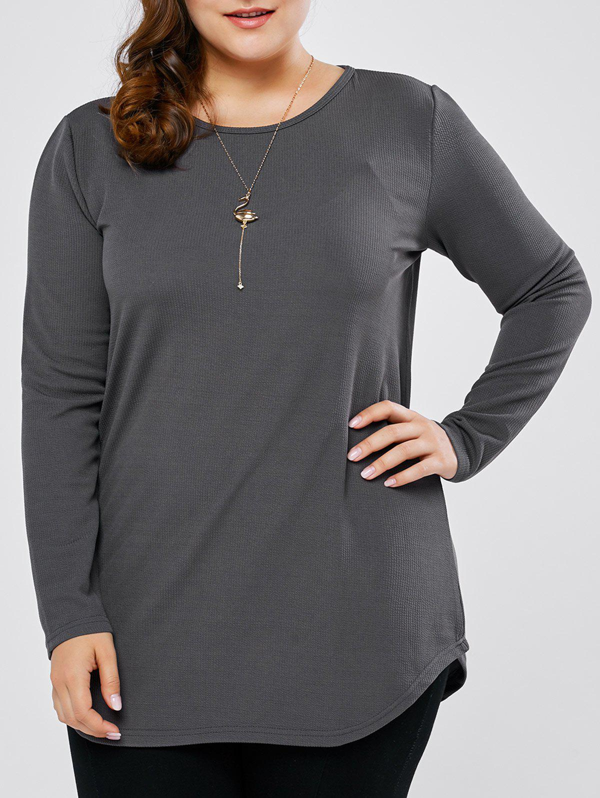 Plus Size Round Neck Long Sleeve Tee - GRAY 2XL