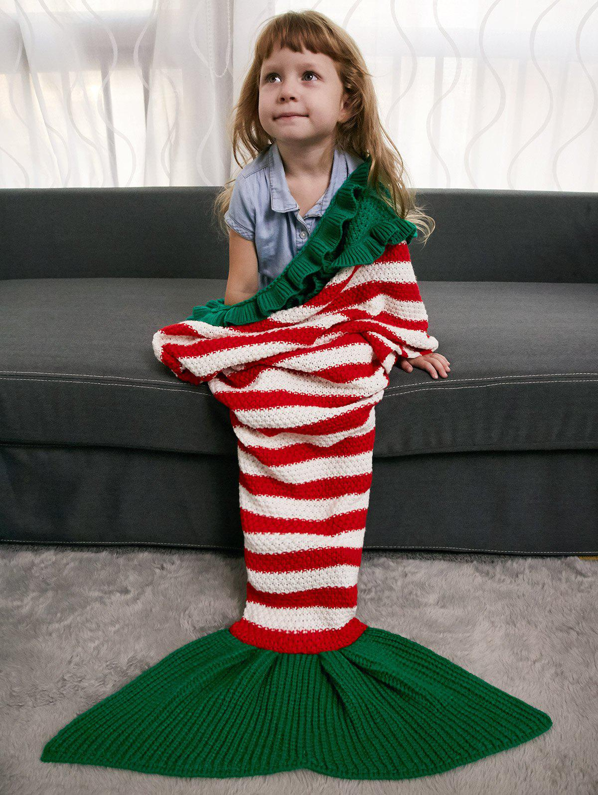 Ruffles Striped Crochet Knit Mermaid Blanket Throw For Kids