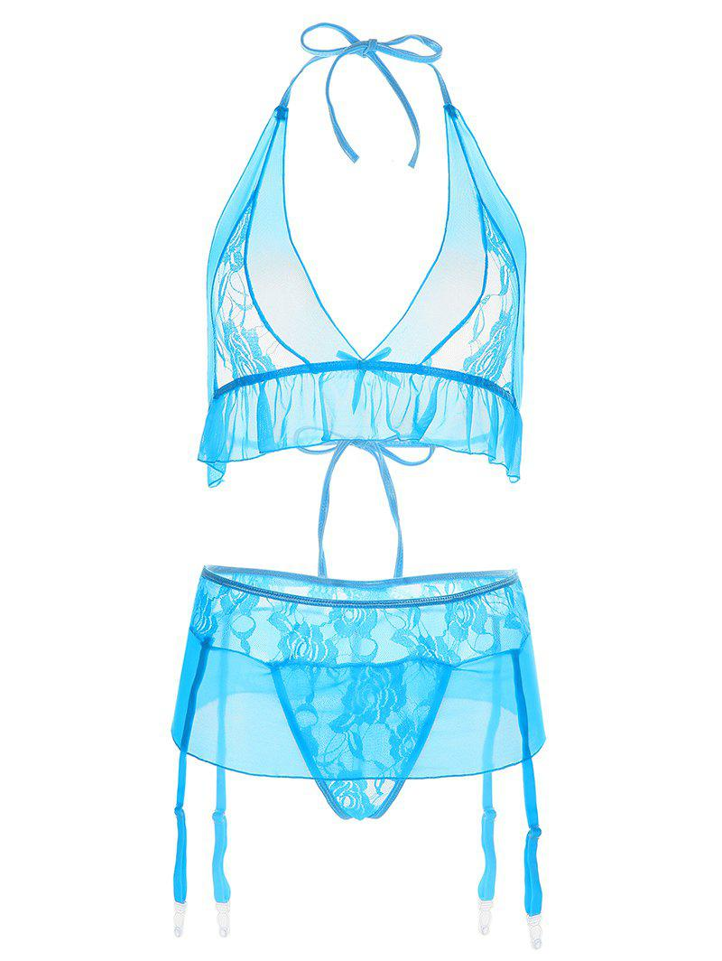 Halter Lace Panel See-Through Bra Set - AZURE M