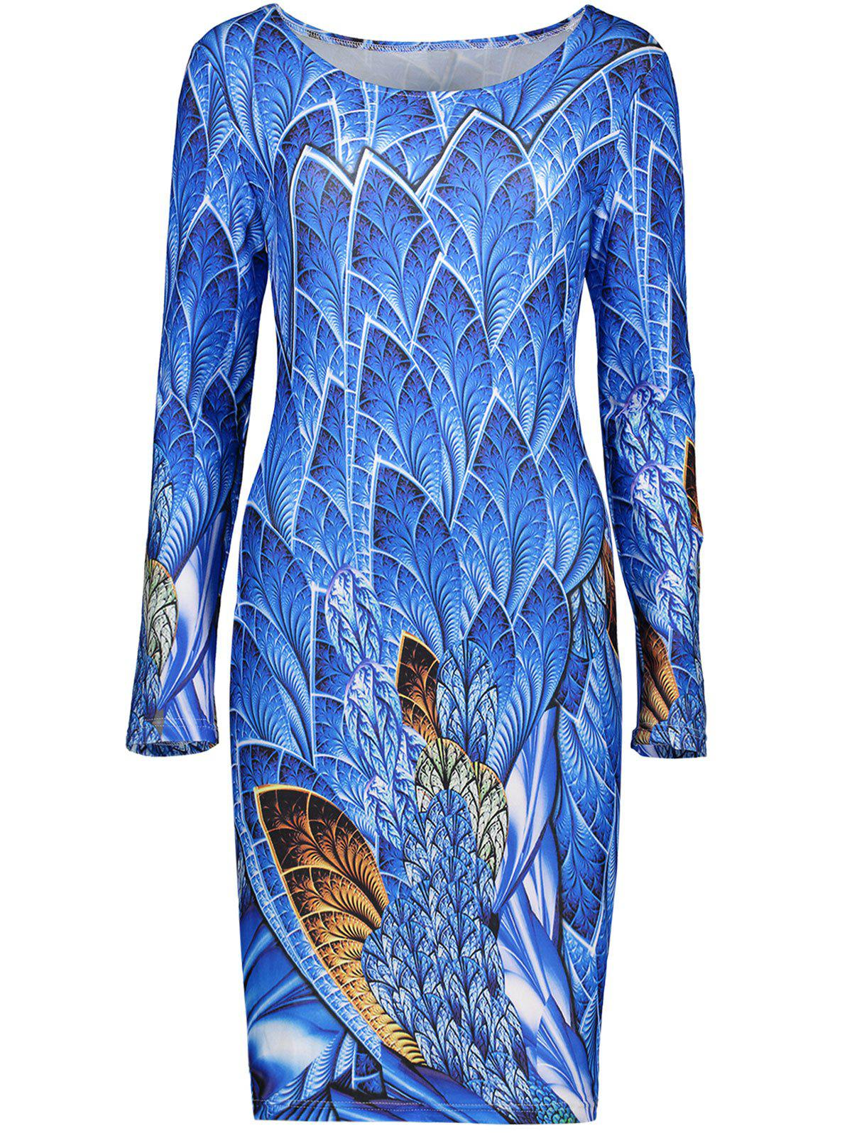 Knee Length Printed Plus Size DressWomen<br><br><br>Size: XL<br>Color: BLUE