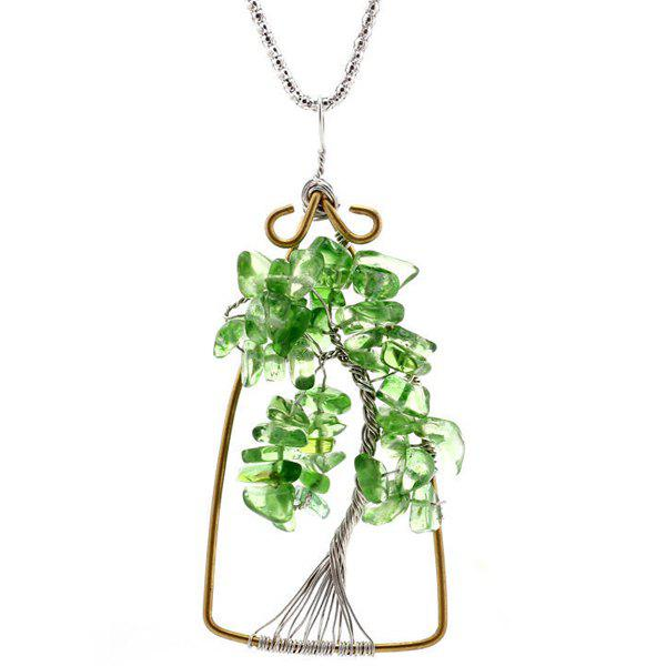 Life Tree Natural Stone Pendant Necklace feng shui natural citrine gem stone money tree 9 inch yellow crystal money tree