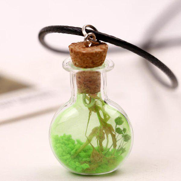 Glass ball faux leather rope necklace green in necklaces