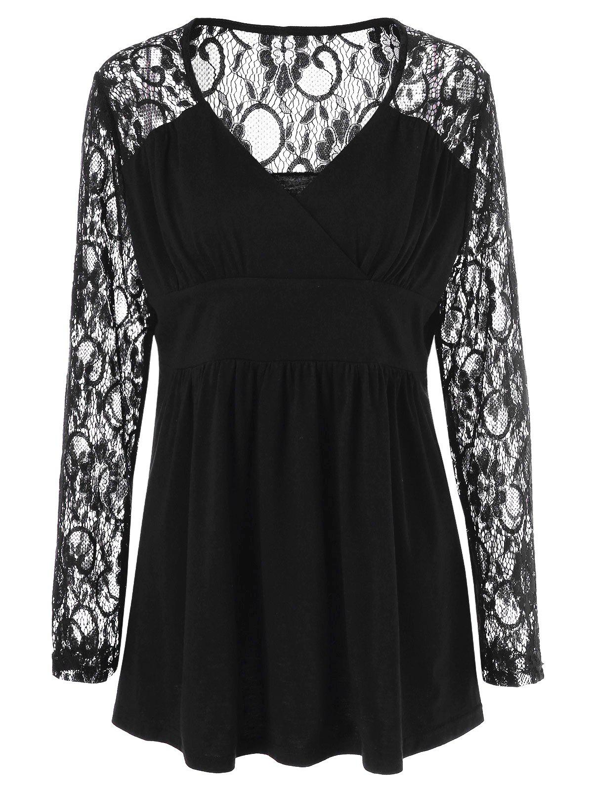 Plus Size Lace Panel Sheer Ruched T-Shirt - BLACK 3XL