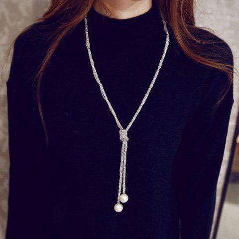 Artificial Pearl Embellished Sweater Chain - SILVER