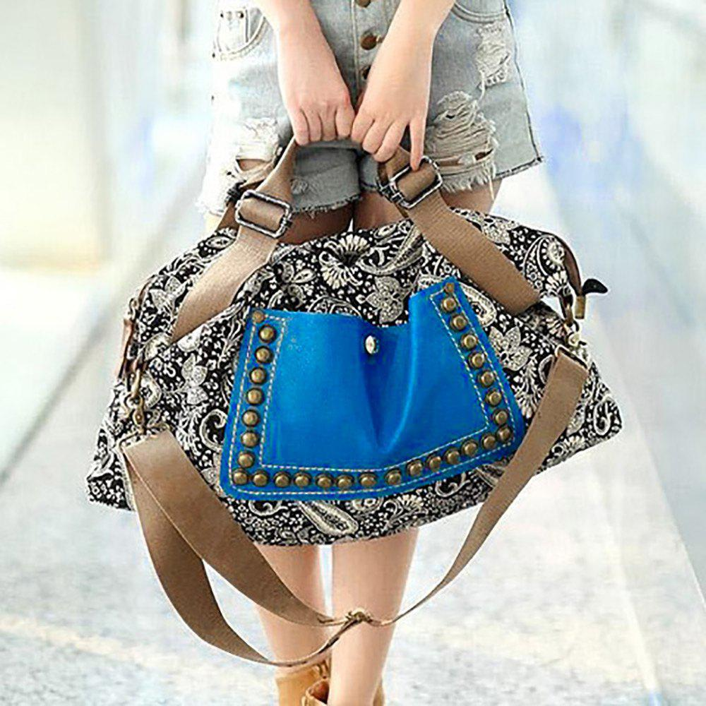 Retro Style Rivets and Splice Design Tote Bag For Women - COLORMIX