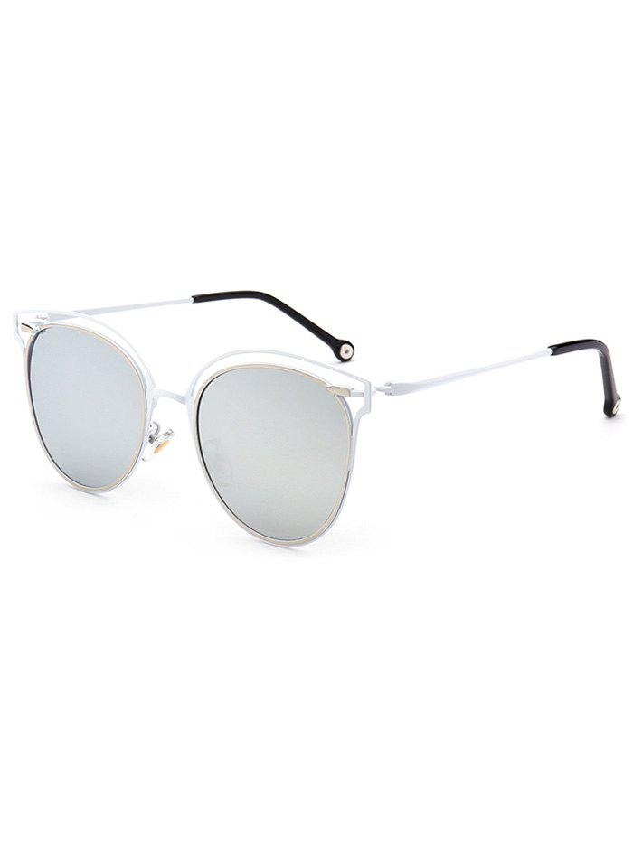 Double Rims Hollow Out Cat Eye Mirrored Sunglasses - SILVER