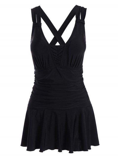 Plus Size Skirted Ruched One Piece Criss Cross Swimsuit - BLACK XL