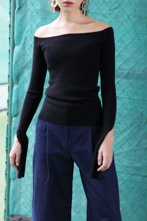 Slim Fit Off The Shoulder Sweater - FULL BLACK ONE SIZE