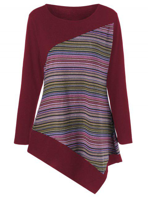 Long Sleeve Colorful Striped Asymmetric Tunic T-Shirt - DEEP RED M