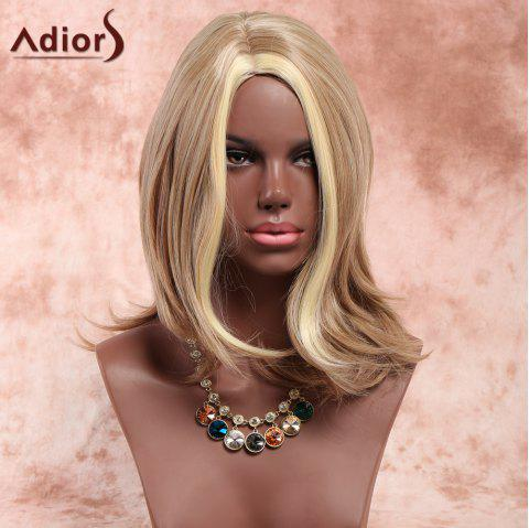 Adiors Side Parting Slightly Curled Highlight Medium Synthetic Wig - COLORMIX