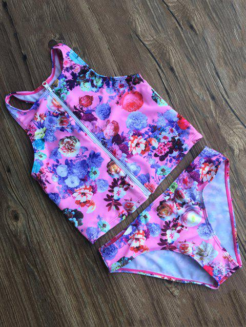 Zippered Floral Swimsuit - FLORAL S