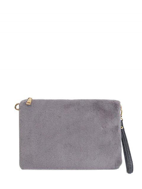 326883277660 2018 Fluffy Embossed Panel Clutch Bag In GRAY