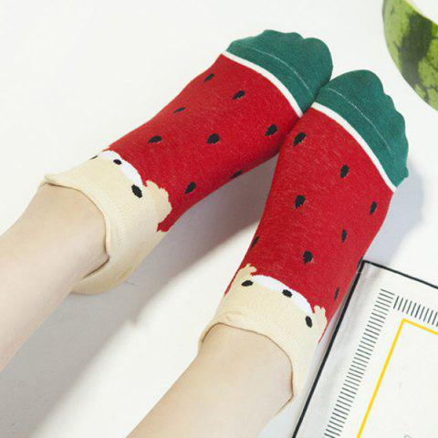 2 Pairs of Watermelon Ankle Socks - COLORMIX