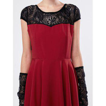 Short Sleeve Lace Panel Mini Dress - DEEP RED S