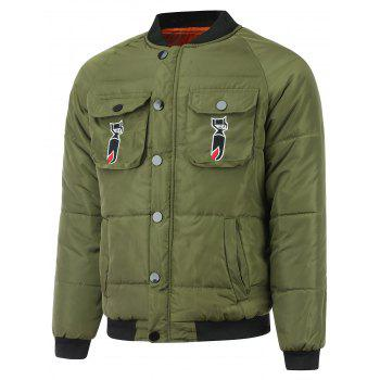 Pocket Embroidered Patch Zip Up Padded Jacket