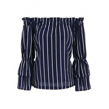 Off The Shoulder Striped Layered Sleeve Blouse