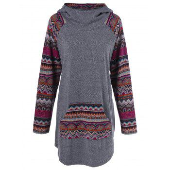 Tribal Trim Kangaroo Pocket Longline Hoodie