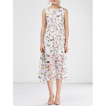 Sleeveless Chiffon Floral Tea Length Beach Dress