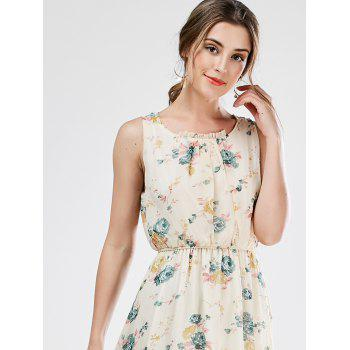 Sleeveless Chiffon Floral Tea Length Beach Dress - PALOMINO M