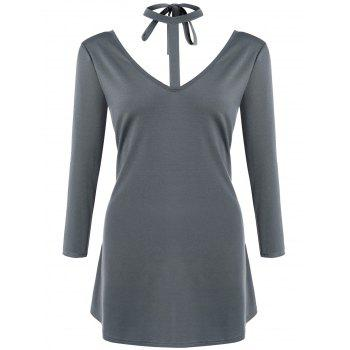 Self Tie V Neck Choker Dress