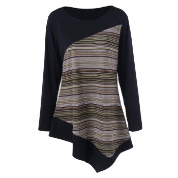 Long Sleeve Colorful Striped Asymmetric Tunic T-Shirt