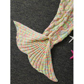 Keep Warm Ruffles Crochet Yarn Mermaid Blanket Throw For Kids - LIGHT CAMEL