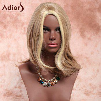 Adiors Side Parting Slightly Curled Highlight Medium Synthetic Wig