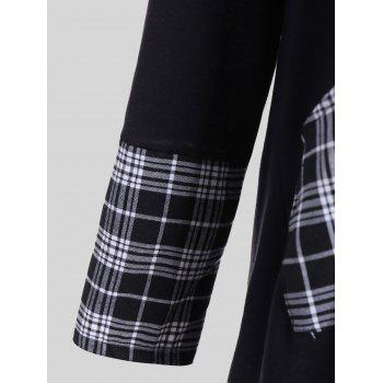 Plus Size Plaid Insert Asymmetrical Tee - WHITE/BLACK WHITE/BLACK