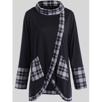 Plus Size Plaid Insert Asymmetrical Tee - WHITE AND BLACK WHITE/BLACK