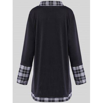 Plus Size Plaid Insert Asymmetrical Tee - 2XL 2XL