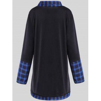 Plus Size Plaid Insert Asymmetrical Tee - 3XL 3XL