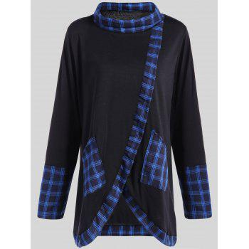 Plus Size Plaid Insert Asymmetrical Tee - BLACK AND BLUE 2XL